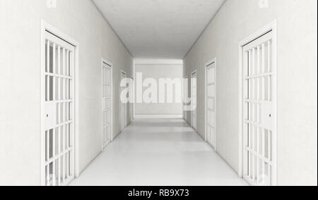 An interior concept a well lit corridor in a modern prison showing shut jail cells doors - 3D render - Stock Photo