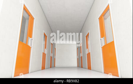 An interior concept a well lit corridor in a modern prison showing orange shut jail cells doors - 3D render - Stock Photo
