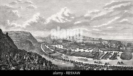 The Volunteer Review in the Queen's Park, 1860, Edinburgh, Scotland - Stock Photo