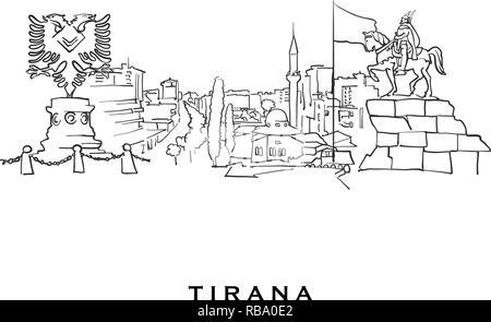 Tirana silhouette skyline  Albania - Tirana vector city, albanian