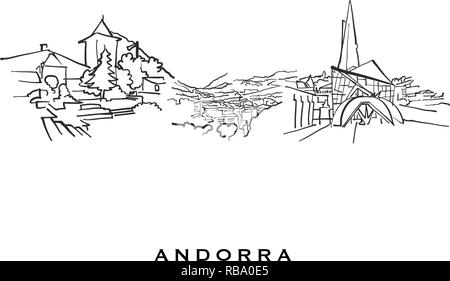 Andorra famous architecture. Outlined vector sketch separated on white background. Architecture drawings of all European capitals. - Stock Photo