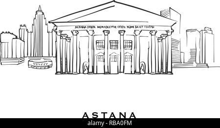 Kazakhstan architecture line skyline illustration  Linear vector