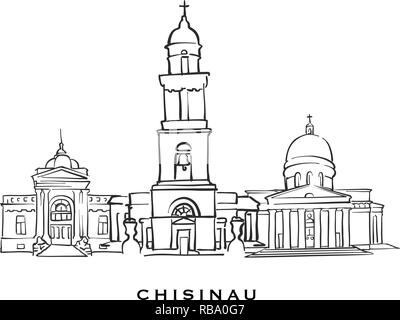 Chisinau Moldova famous architecture. Outlined vector sketch separated on white background. Architecture drawings of all European capitals. - Stock Photo