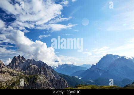 Sexten Dolomites mountains near Tre Cime di Lavaredo. Cloudy ski on background. Italy beauties - Stock Photo