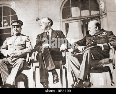 Stalin, Roosevelt and Churchill at the Teheran Conference, 1943. Sir Winston Leonard Spencer-Churchill, 1874 –1965. British politician, statesman, army officer, and writer, who was Prime Minister of the United Kingdom from 1940 to 1945 and again from 1951 to 1955.  Joseph Vissarionovich Dzhugashvili Stalin, 1878 –1953. Soviet communist revolutionary and politician. Franklin Delano Roosevelt, 1882 – 1945, aka FDR.  American statesman, political leader and 32nd president of the United States. - Stock Photo