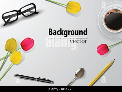 woman blogger workspace with glasses - Stock Photo