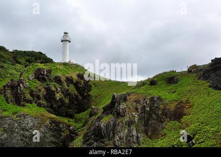 Rough sea on the wild coastline at Uganzaki Lighthouse in Ishigaki Island, Okinawa Japan