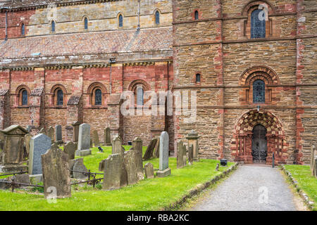 The St. Magnus Cathedral in Kirkwall, Orkney Isles, Scotland, United Kingdom, Europe. - Stock Photo