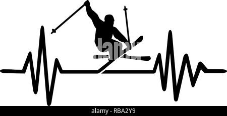 Heartbeat pulse line with freestyle skier - Stock Photo