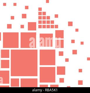 Abstract vector cover design with square shapes in Living Coral trend color. - Stock Photo