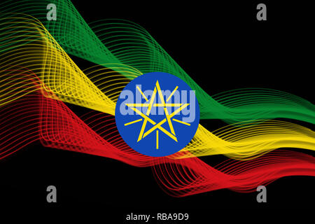 National flag of Ethiopia made of neon glowing intersecting lines on black isolated background - Stock Photo