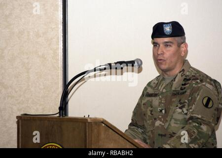 Col. Fernando Guadalupe Jr., commander of the Leader Training Brigade, speaks during the change of command ceremony Jan. 6 at the Officers Club on post. Guadalupe is a career aviation officer who was commissioned a second lieutenant at Georgia State University in 1994. - Stock Photo
