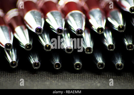 Ballpoint pens. Metal pens collection. Ball pens isolated on white background - Stock Photo