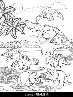 Dinosaur Cartoon Prehistoric Landscape Scene - Stock Photo