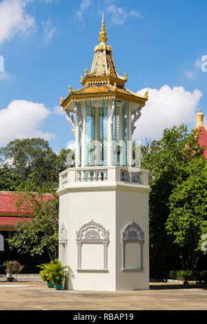 Belfry or bell tower in the Silver Pagoda compound within the Royal Palace complex. Phnom Penh, Cambodia, southeast Asia - Stock Photo