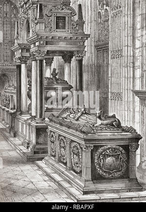 The south aisle of Henry seventh's chapel or The Henry VII Lady Chapel, Westminster Abbey, City of Westminster, London, England.  From London Pictures, published 1890 - Stock Photo