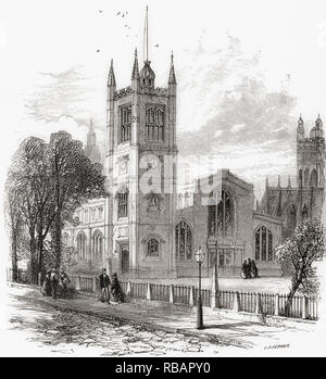 The Church of St Margaret, Westminster Abbey, in the grounds of Westminster Abbey on Parliament Square, London, England, seen here in the 19th century.  From London Pictures, published 1890 - Stock Photo