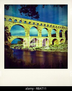 Polaroid effect on the Pont du Gard and river Gard, Gard, Langudoc-Roussillon, France, Europe - Stock Photo