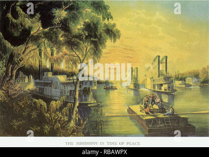 Steamboats on River. - Stock Photo