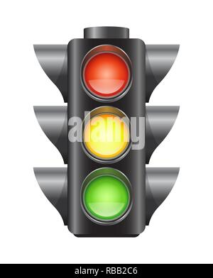 Realistic vector traffic lights for cars isolated - Stock Photo