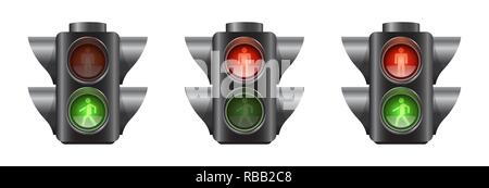 Set of realistic traffic lights for pedestrians - Stock Photo
