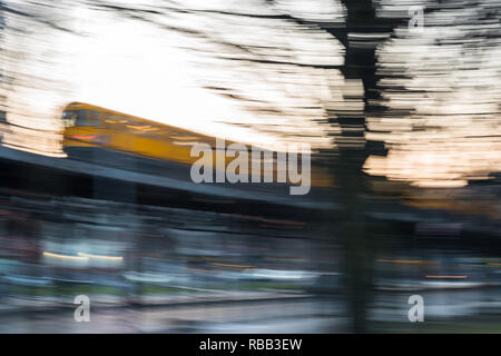 The old Subway in motion in Berlin Kreuzberg - Stock Photo