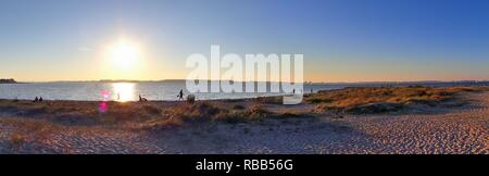Beautiful high resolution sunset landscape panorama at the beach in northern germany at the baltic sea - Stock Photo