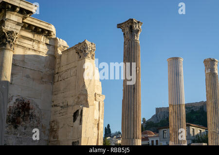 Monastiraki Square offered an amazing view of Acropolis. It is an amazing and inspiring feeling to be so close to real antiquity. - Stock Photo