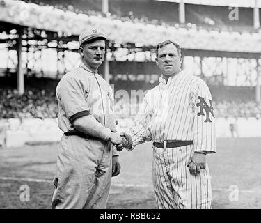 Harry Wolverton, New York Highlanders and John McGraw, New York Giants at the Polo Grounds NY, 21 April 1912. - Stock Photo