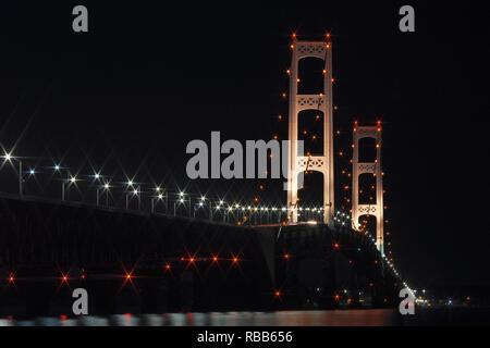 Mackinaw Bridge at Night - Stock Photo