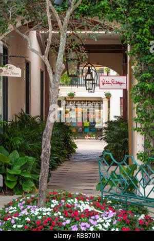 Via Amore courtyard along world-famous Worth Avenue in Palm Beach, Florida. (USA) - Stock Photo