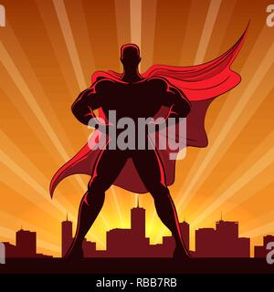 Silhouette of a superhero in red cap standing on the edge of a building at sunset. Vector Illustration. - Stock Photo