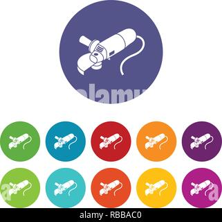 Angle grinder icons set vector color - Stock Photo