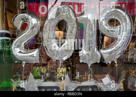 2019 balloons on display in a party shop on Kensington High Street, on 6th january 2019, in London, UK - Stock Photo
