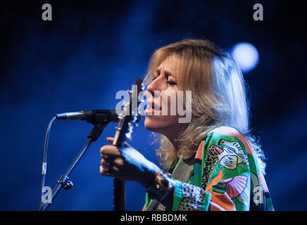 The American-Canadian singer, songwriter and musician Martha Wainwright performs a live concert at the Danish folk, blues and country music festival Tønder Festival 2014. Denmark, 31/08 2014. EXCLUDING DENMARK. - Stock Photo