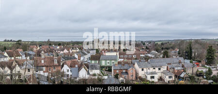 Clare, Suffolk. A panorama of this market town on the north bank of the River Stour in Suffolk, England.  A historic 'thread town'. - Stock Photo