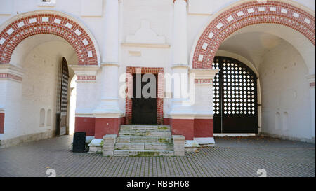 Retro vintage stone arch wooden wall in Palace of Tsar Alexey Mikhailovich, Moscow Russia. - Stock Photo