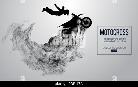 Abstract silhouette of a motocross rider on white background from particles, dust, smoke, steam. Motocross rider jumping and performs a trick. Background can be changed to any other. Vector - Stock Photo