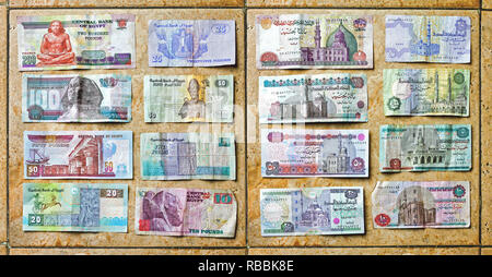 CAIRO, EGYPT - FEBRUARY 25: Egyptian Pounds Money in Cairo on FEBRUARY 25, 2010. Colorful Egypt Pound Currency Banknote in Cairo, Egypt. - Stock Photo