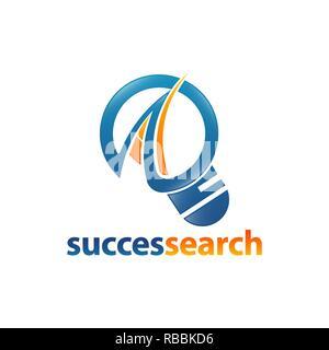 Magnifier icon succes search logo concept design template idea - Stock Photo