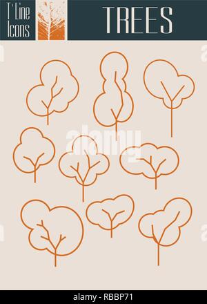 Assorted Outlined Tree Icon Set Isolated. Autumn season - Stock Photo