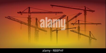 Tower construction crane vector line art on sunset - Stock Photo