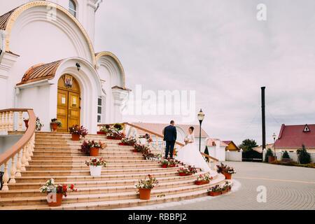 Turov, Belarus - September 22, 2018: Wedding Near Cathedral Of St. Kirill And Lavrenty Turovsky - Stock Photo