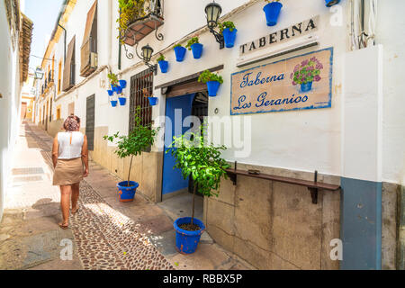 Woman in the old alley of Calleja De Las Flores, Cordoba, Andalusia, Spain Stock Photo