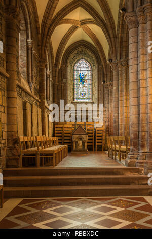 The St. Magnus Cathedral interior sanctuary in Kirkwall, Orkney Isles, Scotland, United Kingdom, Europe. - Stock Photo
