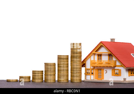 chart of Euro coins with model home - Stock Photo