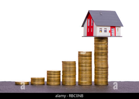 chart of Euro coins with model home on top - Stock Photo