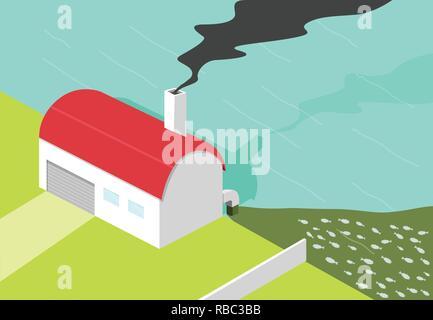 Bad factory make black smoke and water pollution, vector art - Stock Photo