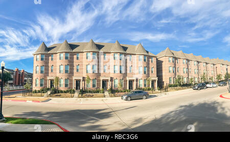 Panoramic view exterior of new townhouse apartment building near - Stock Photo