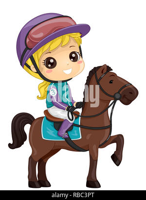 Illustration of a Kid Girl Wearing Uniform and Riding a Horse for a Race - Stock Photo